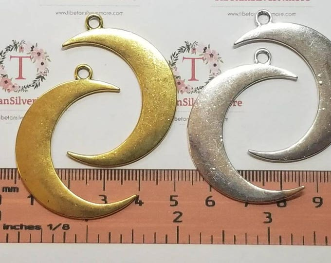 5 pieces a pack of 43x9mm Reversible Plain Crescent Moon Charm in Antique Silver or Gold lead f ree Pewter