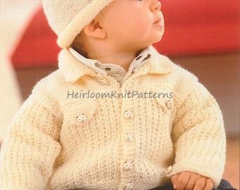 Baby Boy Jacket and Hat Knitting Pattern PDF 16-24'' Baby Toddler Boy Jacket Set Vintage DK 8ply Knitting Pattern Instant Download PDF - 371