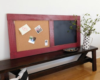 MEMO BOARD - Rustic Cork Chalk Board Combo - Family Message Center - Rustic Farmhouse Style - Shown in Vintage Red - 24x54 - Choose Color