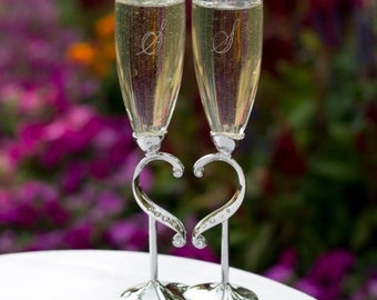Personalized Wedding Flutes Champagne Linked Love Heart Toasting Glasses Ceremony Engraved