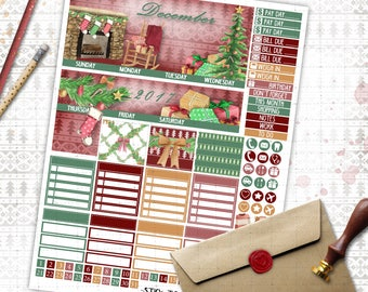 December Monthly printable planner stickers for Erin Condren LifePlannerTM watercolor classic red green christmas  monthly sticker kit