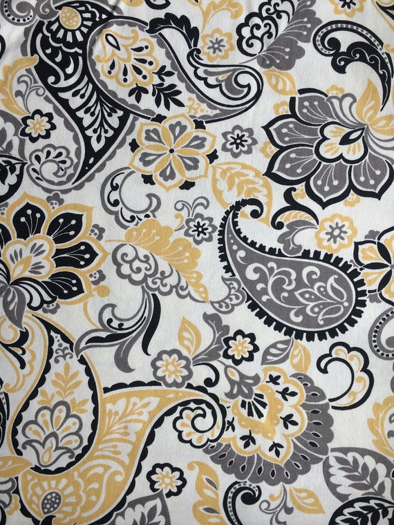 Yellow Grey White Black Paisley Floral Cotton Duck Fabric by the ...