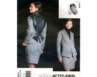 Vogue Attitudes 1843 Womens BYRON LARS Color Block Leather Trim Jacket & Skirt Out Of Print Sewing Pattern Size 8 10 12 UNCUT Factory Folds