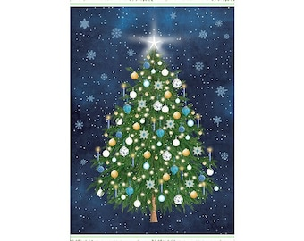 O Christmas Tree Panel 24in x 44in Panel Blue Cotton Fabric By Northcott