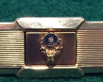 Kreisler 12K Gold Filled Tie Clip - Has Deer with Clock in Antlers - CA 1960's - Item BAR117