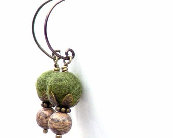 Fall Fashion Earrings Green Olive Moss Drop Rustic Gemstone French Wire