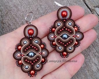 Brown Terracotta Earrings - Soutache Earrings - Hand Embroidered Soutache Jewelry - Brown Terracotta Chandelier Earrings