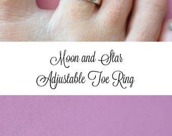Toe Ring, Moon Toe Ring, Star Toe Ring, Adjustable Toe Ring, Hand Stamped Gift, Vacation Jewelry, Bridesmaid Gift, Cruise Gift Beach Wedding