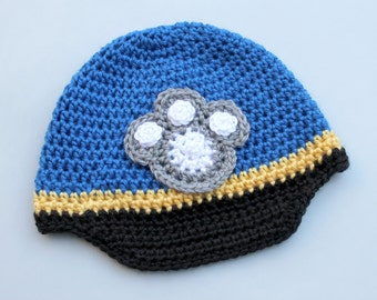 Crocheted Paw Patrol Hat. Chase. Beanie.