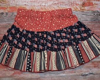 AMERICANA Girls twirly skirt sizes 2 - 4 - 6 - 8  July 4 RED WhITe & BLUE  patriotic Ready to Ship!
