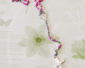 Vintage 5 Decade Rosary/vintage rosary/France rosary/rosary beads/prayer beads/five decade rosary/cross/cross necklace/crucifix/catholic