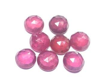 5mm Natural Ruby Round Rosecut gemstone, ruby rose cut round gemstone, Ruby Rose Cut Round Cabochon Gemstone, Rose Cut Round Cabochons