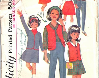 Simplicity 6152 Girl's Single Breasted Jacket or Vest, A-Lined Skirt, V-Neck Blouse, and Tapered Slacks Sewing Pattern Size 7 Vintage 1960's