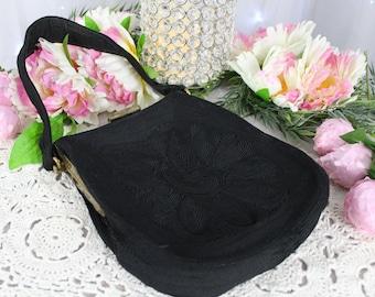 "Gorgeous Vintage 1940's ""Corde"" Handbag,Steampunk Carpet Bag,Boho Bags,Vintage Purse,Antique Purse,40's Handbags,Victorian Purse,Corded Bag"