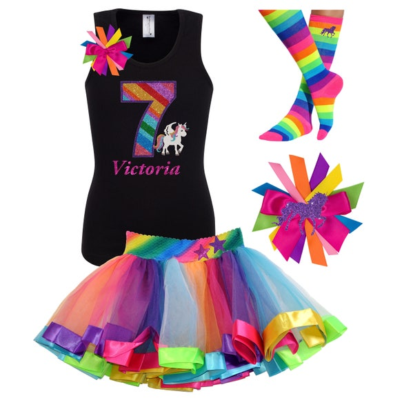 7th Birthday Rainbow Unicorn Tutu, T-shirt, socks and Hair Bow