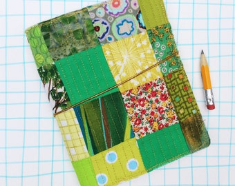 Quilted journal cover, fauxdori, green and gold thread quilt travel journal, fabric planner