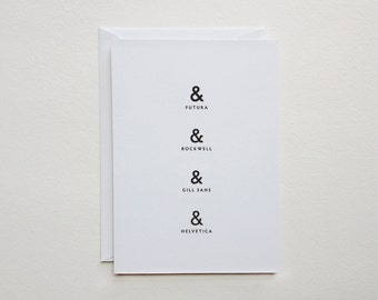 "ampersand card - typography stationery - (5.82"" x 4.13"")"