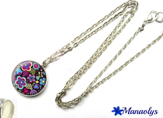 Purple and blue flowers, silver chain 270 glass cabochon necklace