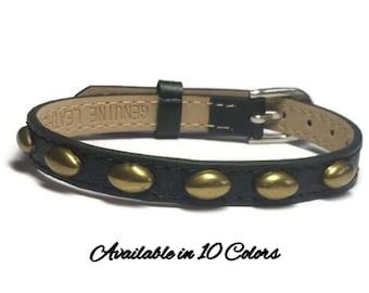 Oval Brass Studded Leather Bracelet - Studded Buckle Leather Bracelet Wristband With Silver Studs - 8mm Black Leather Wristband Strap