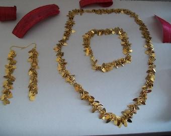 Ornament gold necklace + bracelet + earring