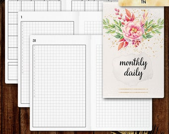 Pocket TN inserts | DAILY planner printable, day on two pages (tn pocket inserts,  travelers notebook, field notes inserts)