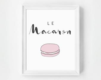 Macaroon Print, French Kitchen Poster, Macaron Kitchen, Macaron Art Print, Macarons Print, Art Print, French Macaron, French Kitchen Decor