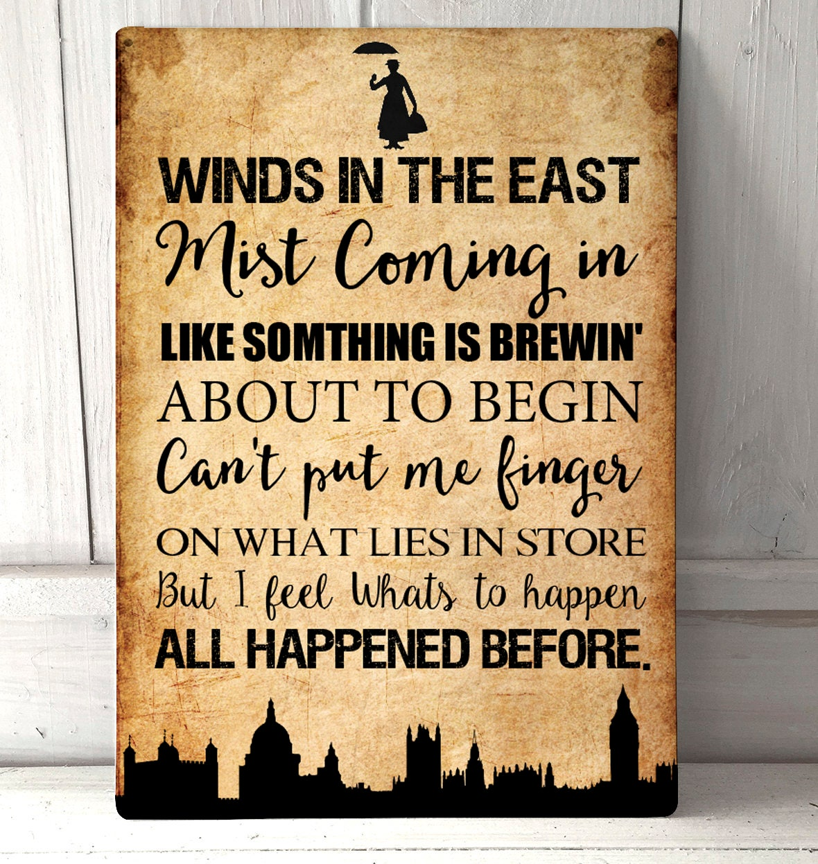 Disney Quote Plaques: Mary Poppins Winds In The East Funny Quote Sign Grunge