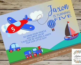 VEHICLES Boy BIRTHDAY INVITE, Airplane Hot Air Balloon Boat Train Car, Transportation Vehicles Birthday Invitation, Digital Printable