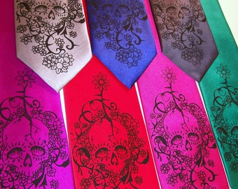 2 Mens necktie - Day of The Dead Print to order in colors of your choice RokGear Floral Skull Neckties