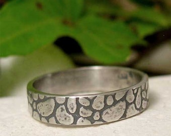Hand Forged Men's Slim Band Ring, Silver Pebble Ring, Rustic Cobblestone Textured Silver, Hand Made to Order Bespoke Jewelry for Men/Women