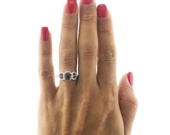 1.50 Carat Pink Tourmaline Engagement Ring, Natural Halo Ring, Halo Round Ring, Pink Gemstone Ring, 14K White Gold, Pink Gemstone Stone Ring