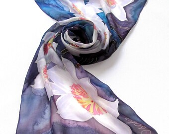 Blue Silk scarf  Narcissus  Hand painted silk scarf. Narcissus Floral silk  neck scarves. Handpainted silk, Summer scarf