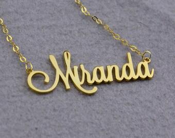 Nombre personalizado collar, placa personalizada collar, collar de oro nombre, Script fuente collar, collar nombre personalizado, nombre colgante N181