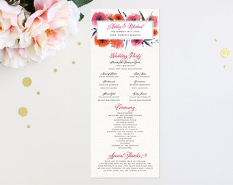 Wedding Program Modern Tropic Floral Elegant Luxury Bold Classic Unique Calligraphy Destination Beach Affordable Canvas Striped