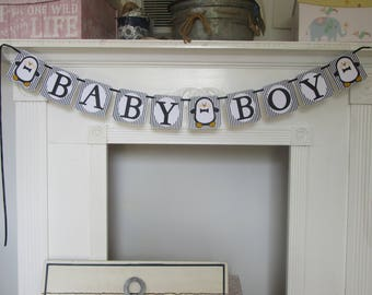 Baby Shower Penguin Baby Boy Banner