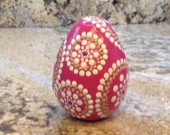 Hand Painted Easter Egg, Large Paper Mache Egg with Flat Bottom, Dot Art, Original Design, Dot Decor, Easter Gift, Pink Easter Egg