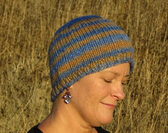 Handspun, Handpainted & Hand Knit Wool Beanie - Thick and Warm - Mirage