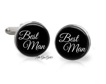 Best Man Cuff Links - Bestman Groomsman Wedding Cufflinks  Gift - Available in Sterling Silver or Stainless Steel