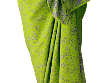 Beach Sarong Womens or Mens Clothing Batik Sarong Pareo Wrap Skirt Beach Coverup Lime Green & Purple Sarong Batik Pareo Swimsuit Wrap Skirt