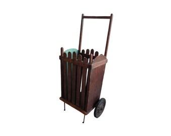 An antique wood French market cart, circa 1900