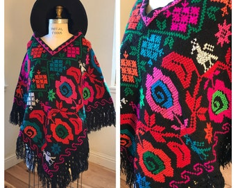 1970's Embroidered Mexican Poncho | Ethnic Bohemian Hippie Style | Bright Colorful Statement Piece | Hand Knit Vintage Poncho | FITS SM-LG