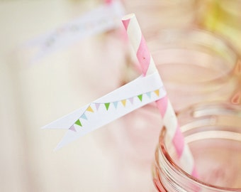 DIY Printable Straw Flags - Sweet Shoppe Party