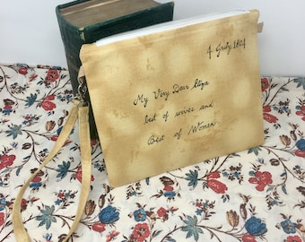 Eliza Hamilton Letter envelope pouch - zippered envelope clutch - geeky envelope clutch- Eliza Schuyler cosplay purse