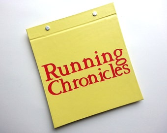 Race Bib Book - Running Chronicles - Gift for Runner - Race Bib Book Hand-bound for Runners - Running Bibs Display Pale Yellow and Red