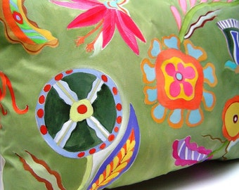 Floral Exotica Pillow - Hand Painted Whimsical Color Shapes Petals Squiggles 14 x 20 Hauser Green Vibrant Decorative