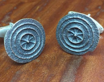 Spiral Crop Circle Cuff Links