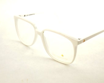 Womens White Eyeglasses, Large Square White Glasses, Vintage Big Eyeglasses, Designer Liz Claiborne Glasses Frame, Huge 1980s glasses