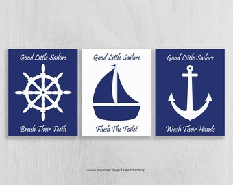 Bathroom Art Prints - Nautical Bathroom - Anchor, Sailboat, Ship Wheel - Bathroom Art for Kids - Bathroom Rules