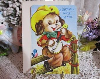 Vintage Retro Mid Century Greeting Card-Cowboy Pup-Unused-Children's
