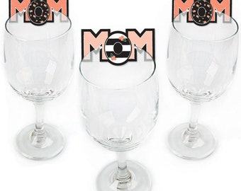 Mom Party Wine Markers -Best Mom Ever - Mother's Day Shaped Wine Glass Charms - Mom Drink Markers - Wine Tags - Set of 24